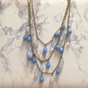 Blue and light blue droplet necklace